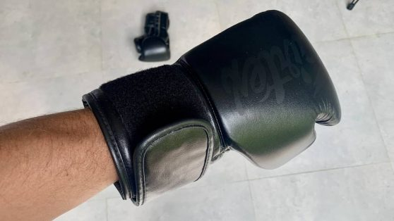 What the strapping looks like on a regular pair of velcro boxing gloves (Fairtex BGV14)