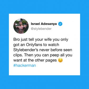 Israel Adesanya's tweet about his OnlyFans