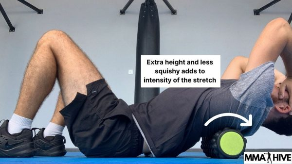 A foam roller adds much more intensity to the thoracic stretch