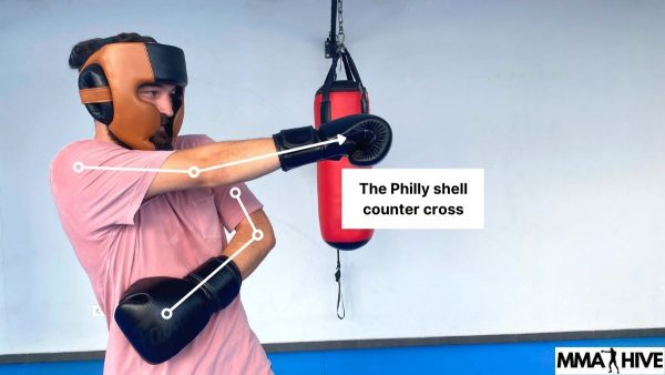 Using the counter cross in the Philly Shell fighting stance