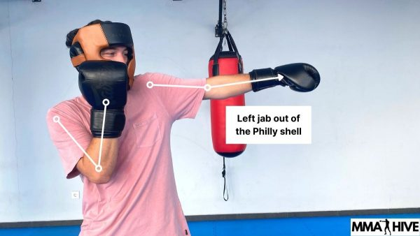Using the left jab with the Philly Shell stance